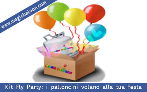 Kit Fly Party: palloncini colorati, bombola usa e getta di gas elio per gonfiarli, nastrino... tutto per la tua festa