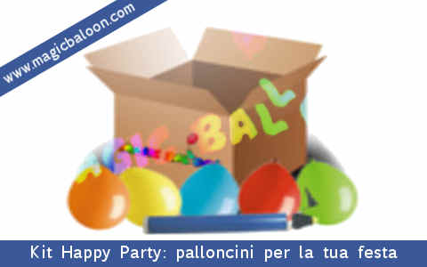 Kit Happy Party: palloncini colorati, pompetta ad aria per gonfiarli tutto per la tua festa